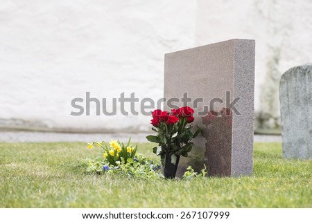 Red roses in grass with reflection in tombstone on graveyard - stock photo