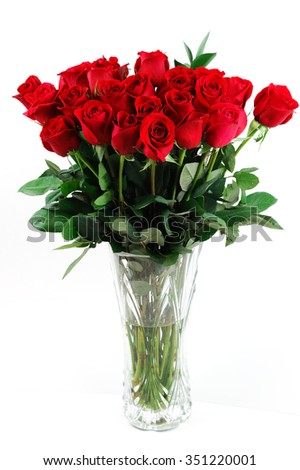 red roses in vase - stock photo