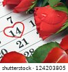 red roses lay on the calendar with the date of February 14 Valentine's day - stock photo