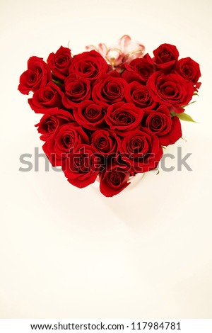 Red roses making the shape of heart in the white background