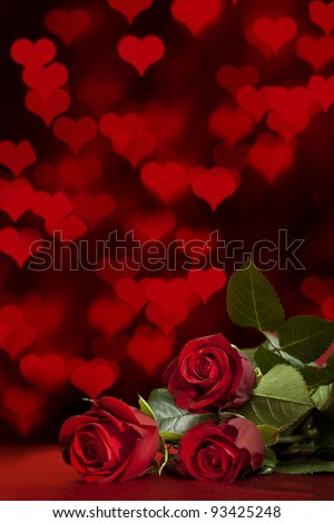 red roses on a background of defocused lights