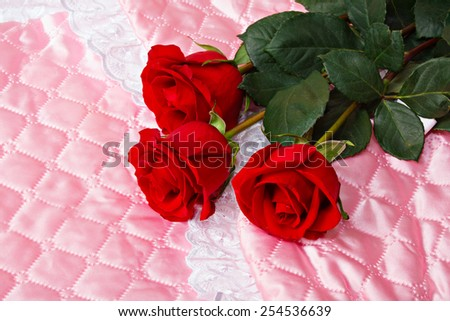Red roses on pink satin. New born concept.