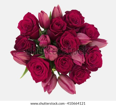 Red Roses Red Tulips Bouquet on isolated white background - stock photo