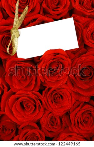Red roses with a blank gift tag. - stock photo