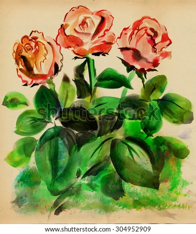 Red roses with green leaves painted paints on on the background of old paper - stock photo