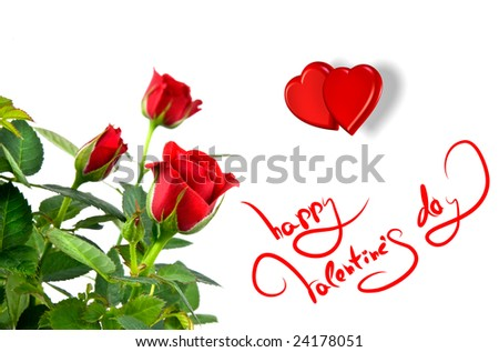 Red roses hearts greetings valentines day stock photo royalty free red roses with hearts and greetings for valentines day m4hsunfo