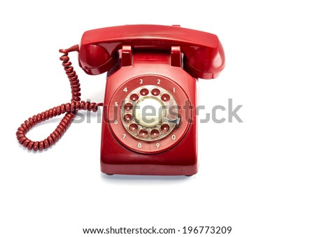 Red Rotray Phone Isolated On White - stock photo
