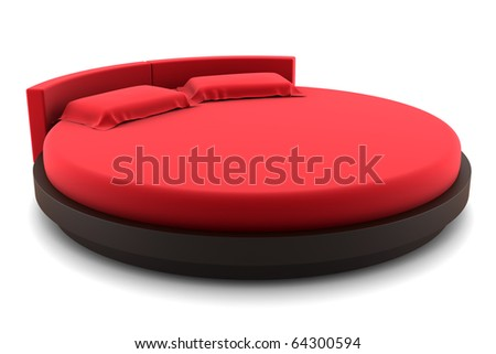 red round bed isolated on white background - stock photo