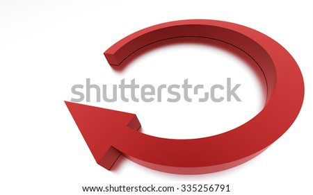 Red round business arrow icon rendered