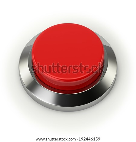 Red round button with steel border on white background - stock photo