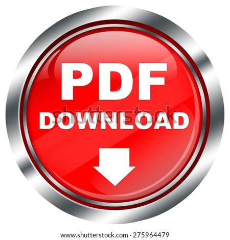 red round pdf download button for web design, with white arrow, chrome border, on white background - stock photo