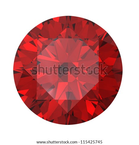 Red round shaped garnet isolated on white background. Gemstone