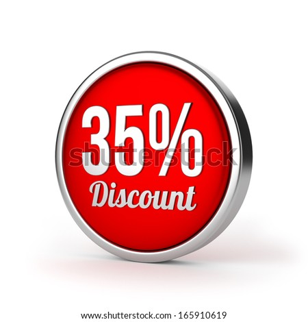 Red round thirty-five percent discount button with metallic border