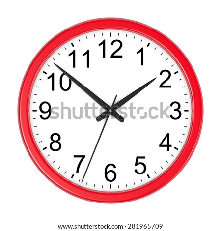 Red Round Wall Clock Isolated on White Background 3D Illustration - stock photo