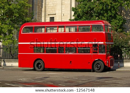 Red Routemaster bus this a restored version some still in regular service on heritage routes - stock photo
