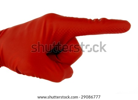 Red rubber glove showing different sign