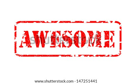 "Red rubber stamp ""Awesome"" - stock photo"