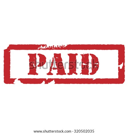 Red rubber stamp paid raster illustration. Paid stamp. Bills paid. Paid invoice - stock photo
