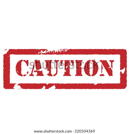 Red rubber stamp with text caution,watermark raster isolated - stock photo