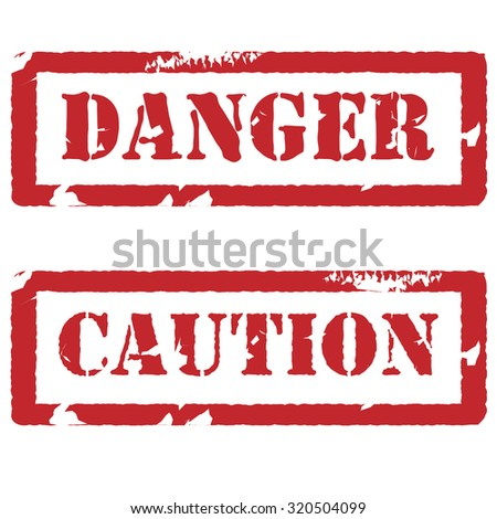 Red rubber stamp with text danger and caution raster set isolated, watermark, danger stamp, caution stamp - stock photo