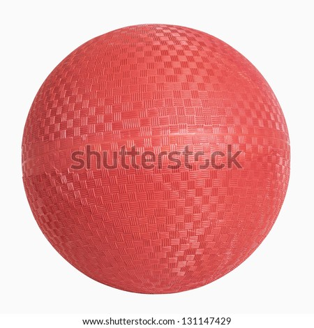 Red rubber wall ball isolated on white, includes clipping path