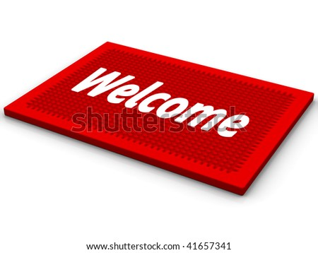 Red rug with a salutatory word Welcome - stock photo