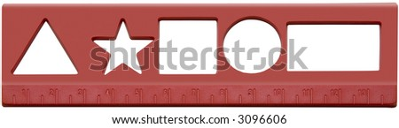 red ruler with assorted shapes to draw - stock photo
