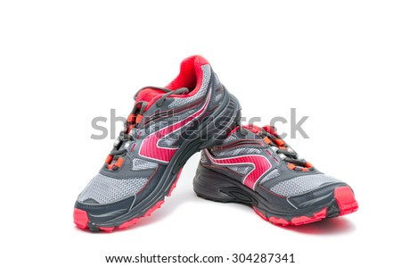 Red running Shoe isolated on white background. - stock photo