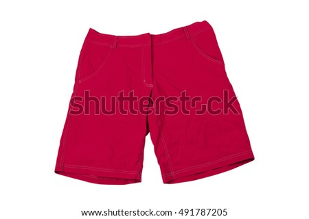 Red Running Shorts isolated on white background