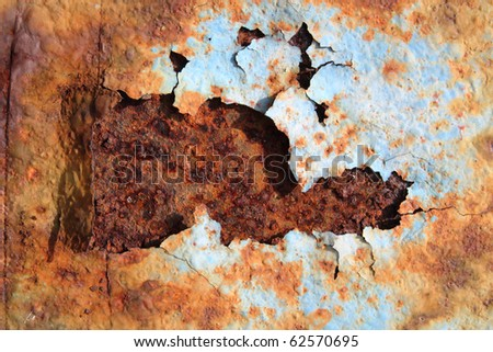 red rust on a blue color - stock photo