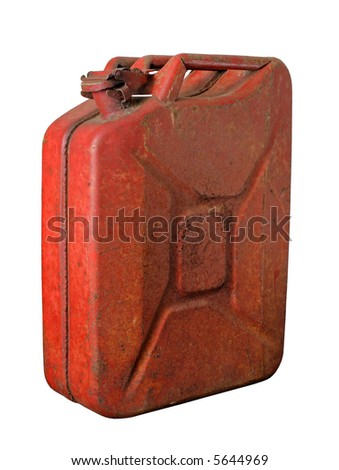 Red rusty jerrycan isolated on white - stock photo