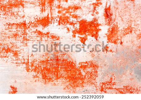 red rusty on metal galvanize surface - stock photo