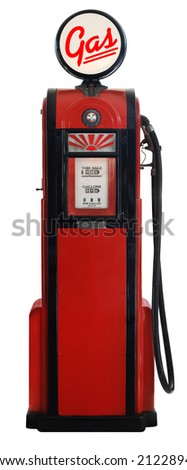 red 1950's era gas pump