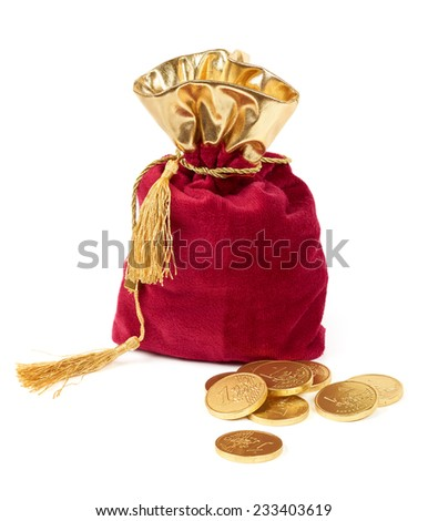 Red sack and euro chocolate coins isolated on white - stock photo
