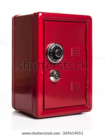Red safe deposit box on a white background - stock photo