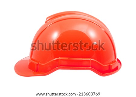 red safety helmet on white background file includes a excellent clipping path