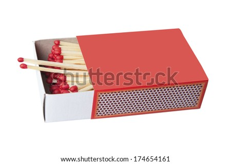 Red safety matches in red box isolated on white. - stock photo