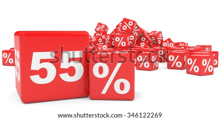 Red sale cubes. Fifty five percent discount. 3D illustration.