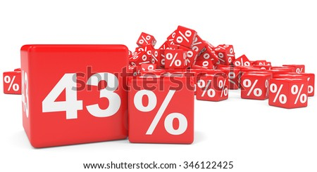 Red sale cubes. Forty three percent discount. 3D illustration.