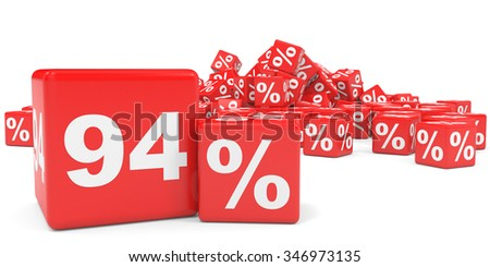Red sale cubes. Ninety four percent discount. 3D illustration.