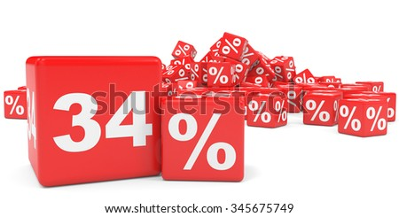 Red sale cubes. Thirty four percent discount. 3D illustration.
