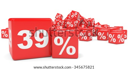 Red sale cubes. Thirty nine percent discount. 3D illustration.