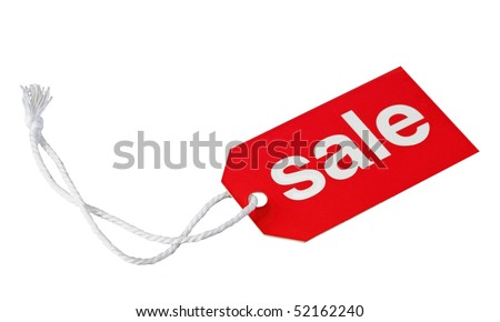 Red sale tag isolated on white background - stock photo