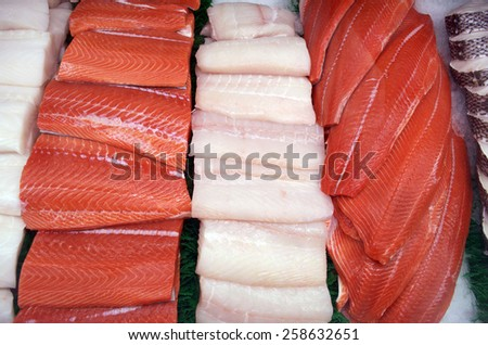 Red Salmon on Display - stock photo