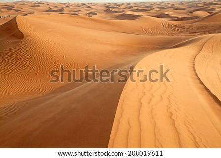 "Red sand ""Arabian desert"" near Dubai, UAE - stock photo"