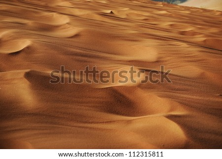 Red sand in a desert of Wadi Rum - stock photo