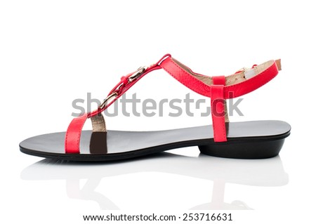 Red sandal isolated on white background. - stock photo