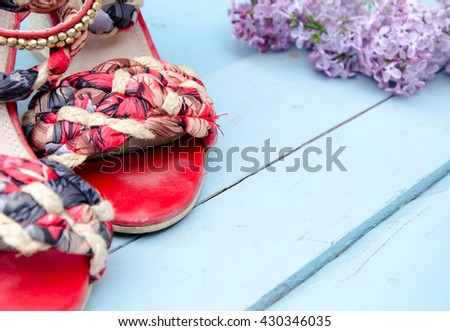 Red sandals  - stock photo