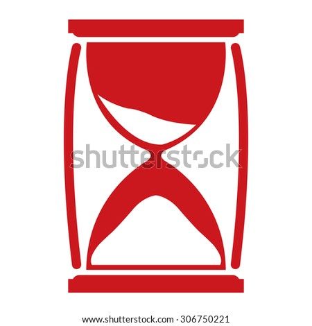 Red Sandglass Infographics Flat Icon, Sign Isolated on White Background - stock photo
