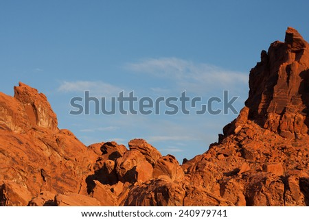 Red sandstone formations in the early morning light in Valley of Fire State Park, Nevada - stock photo